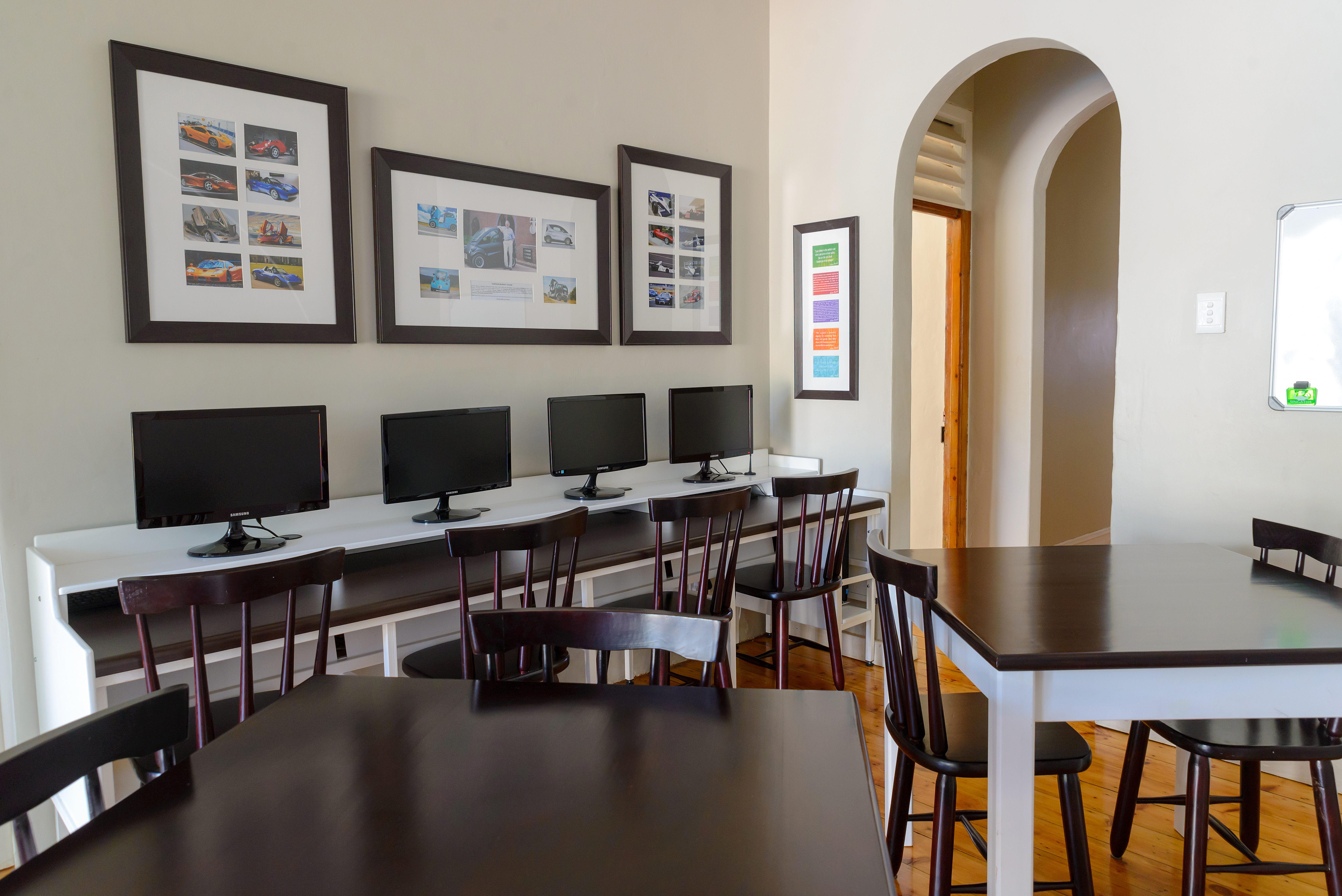 The dining room and computer facility.